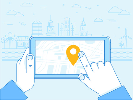 flat linear illustration in blue colors - screen of the mobile phone - gps searching point on the city map and city landscape in the background