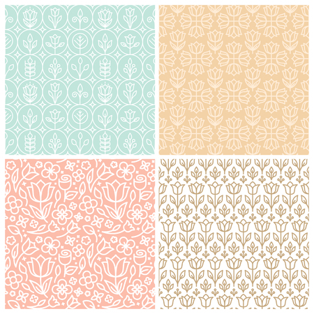 backgrund: set of seamless patterns in trendy linear style with flowers and leaves - backgrounds for websites and packaging for florists
