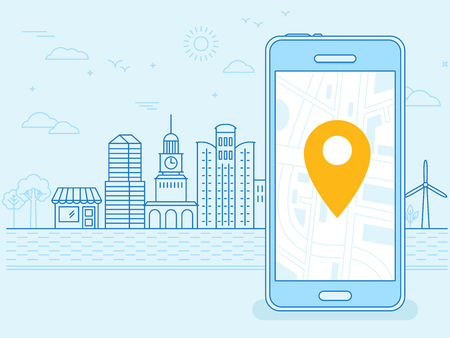 mobile: flat linear illustration in blue colors - screen of the mobile phone - gps searching point on the city map and city landscape in the background