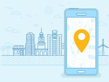 navegacion: ilustración lineal plana en colores azul - la pantalla del teléfono móvil - gps punto de la búsqueda en el mapa de la ciudad y el paisaje de la ciudad en el fondo