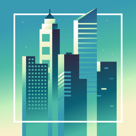 landscape architecture: abstract city landscape in bright gradient colors - building and architecture illustrations for splash screens for apps, banners for websites, business concepts