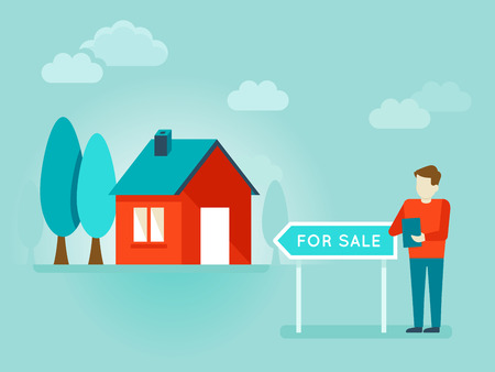 house for sale: flat illustration - house and pointer for sale - holding report and document for building Illustration