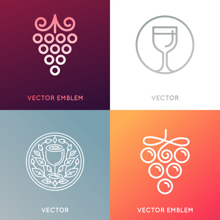 winetasting: set of icon design templates and emblems - wine labels design elements and wine restaurants and bars - grape symbols