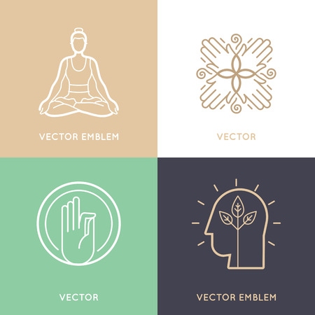 holistic therapy: set of abstract icon design templates and symbols - meditation and yoga practice - concepts and emblems for retreat or massage center Illustration