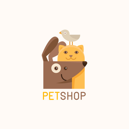 design template for pet shops, veterinary clinics and homeless animals shelters -cat, dog and bird - friendly pets - badge for websites and prints Иллюстрация