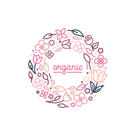 round: Vector design template and monogram concept in trendy linear style - floral frame with copy space for text - cosmetics and beauty emblem Illustration
