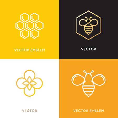 꿀벌, 벌집과 꽃 레이블 및 태그 - 벡터 및 포장 디자인 유행 선형 스타일 템플릿 - 자연과 농장 꿀 개념