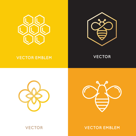 Vector and packaging design templates in trendy linear style - natural and farm honey concepts - labels and tags with bees, honeycombs and flowers Ilustração