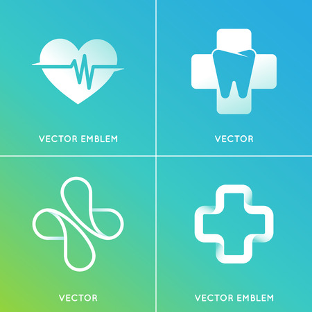 centers: Vector set of abstract emblems - alternative medicine concepts and health centers insignias in gradient blue and green colors Illustration
