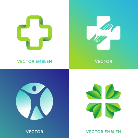 voluntary: Vector set of design template in bright gradient colors - health and ecology concepts - save life and care icons and emblems