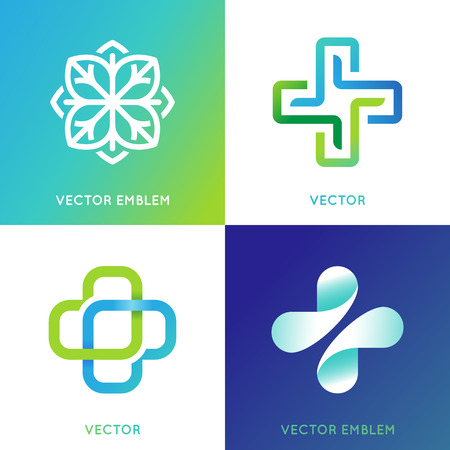 healing practitioners: Vector set of abstract emblems - alternative medicine concepts and health centers insignias in gradient blue and green colors - plus signs Illustration