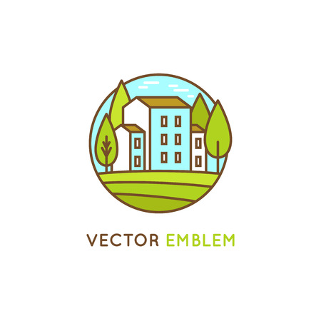 rural development: Vector graphic design template - real estate concept in trendy linear style - farmhouse with trees - landscape emblem