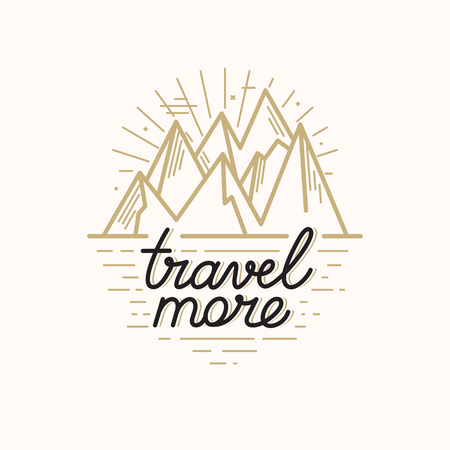 cliffs: Vector badge in trendy linear style with mountain illustration and hand-lettering text - travel more - nature landscape cliffs with stars