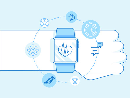 bangles hand: Vector illustration in trendy linear style and blue colors - smart watch and fitness tracker concepts - hand with sport signs Illustration