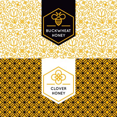 bee: упаковки шаблонов дизайна в модном линейном стиле - натуральный и фермы меда упаковка - этикетки и бирки с цветочным бесшовные модели Иллюстрация