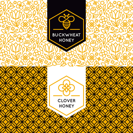 packaging design templates in trendy linear style - natural and farm honey packaging - labels and tags with floral seamless patterns Vectores
