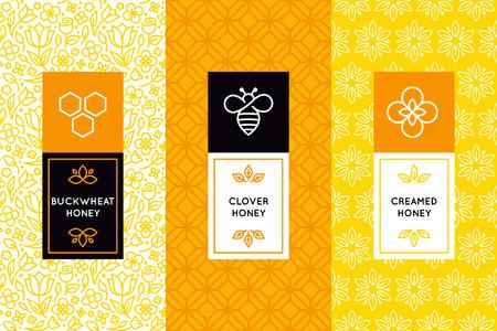 트렌디 한 선형 스타일 - 자연과 농장 벌꿀 포장에서 벡터 포장 디자인 템플릿 - 라벨 및 꽃 원활한 패턴 태그 일러스트