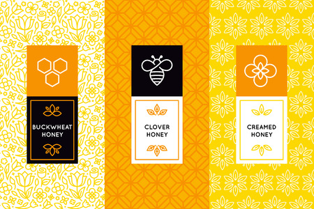 Vector packaging design templates in trendy linear style - natural and farm honey packaging - labels and tags with floral seamless patterns
