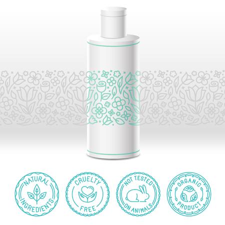 Diseño del vector kit - conjunto de elementos de diseño, iconos e insignias para los cosméticos naturales y orgánicos en el estilo lineal de moda - el envasado de plantilla con etiqueta con estampado de flores
