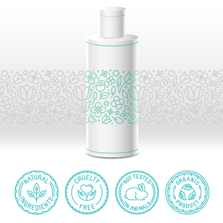 Vector design kit - set van design elementen, iconen en badges voor natuurlijke en biologische cosmetica in trendy lineaire stijl - verpakking sjabloon met label met bloemmotief Stock Illustratie