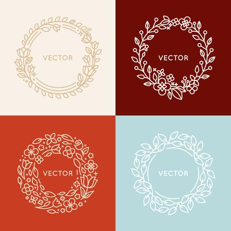 デザイン テンプレートとトレンディな直線的なスタイルのコピーのテキストのための領域と花フレーム - 化粧品および美容エンブレムの概念をモノ  イラスト・ベクター素材