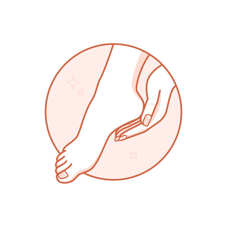 Vector design template and illustration in linear style - circle badge with woman's hand and  - body and nail care and beauty spa concept for manicure salon  イラスト・ベクター素材