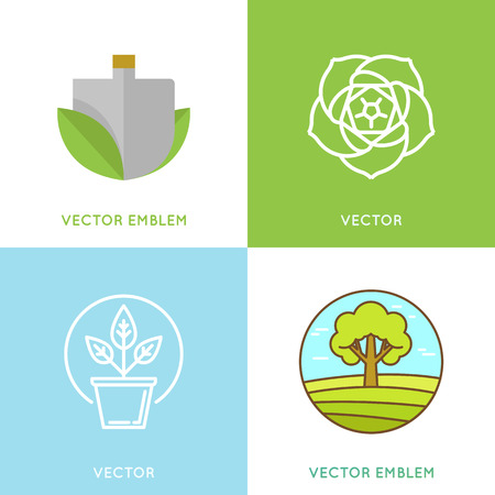 sprouts: Vector gardening concepts and signs in flat and linear style