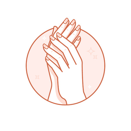 Vector design template and illustration in linear style - circle badge with womans hands - body and nail care and beauty spa concept for manicure salon Çizim