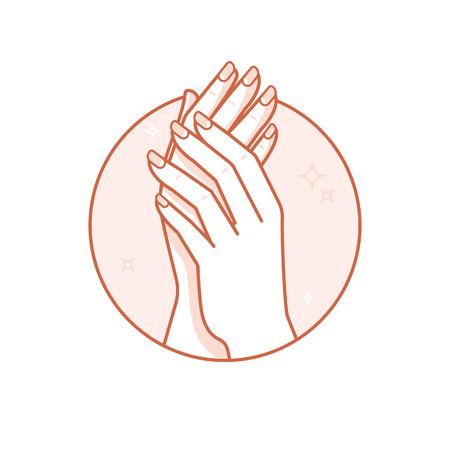 Vector modèle de conception et de l'illustration dans le style linéaire - badge cercle avec les mains de la femme - le corps et le soin des ongles et de la beauté concept de spa pour salon de manucure Banque d'images - 55713062