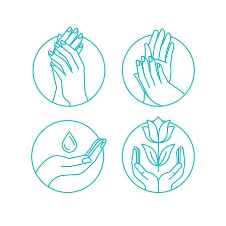 Vector Reihe von Infografiken Design-Elemente und Darstellung in linearen Stil für Kosmetik und Handcreme Verpackung, Beauty-Salon Konzepte und Maniküre-Shop Vektorgrafik