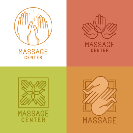 Vector set of linear emblems and elements related to massage and relaxation - mono line signs and concepts for salons and centers