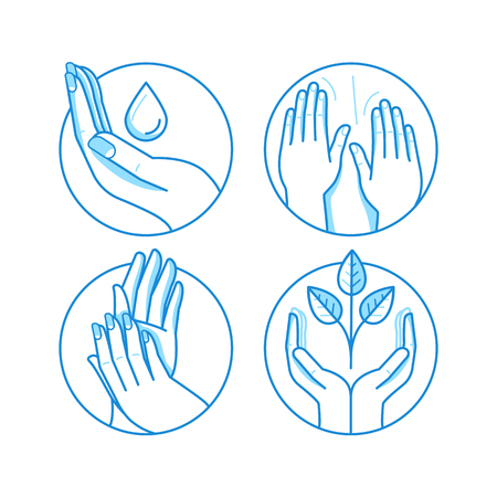 Vector set of icons and illustrations in linear style - massage related emblems and templates - therapy and beauty salon concepts, alternative medicine health centers