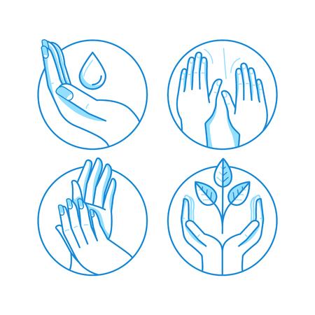 massaggio: Vettore di set di icone e illustrazioni in stile lineare - emblemi legati massaggi e modelli - terapia e salone di bellezza concetti, centri sanitari di medicina alternativa