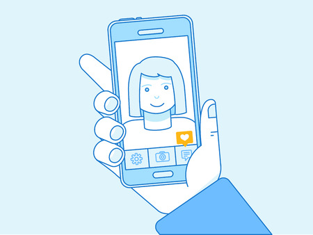 taking photo: Vector illustration in trendy linear style and blue colors - selfie concept - hand of a woman taking photo and self-portrait - photo editing and sharing app on the screen of the mobile phone
