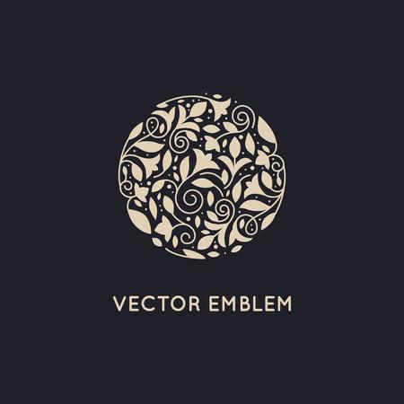 Vector de diseño de la plantilla y el escudo hecho con hojas y flores de belleza - spa de lujo conceptos - insignia natural para cosméticos