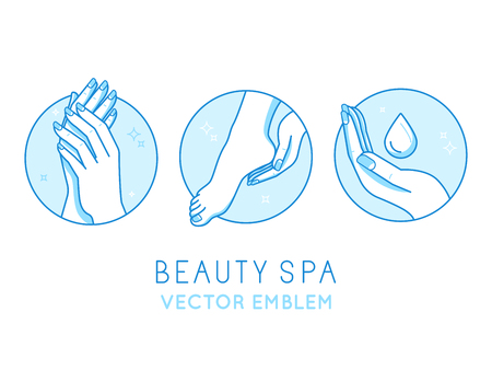 Vector set of design templates and infographics design elements for cosmetics and cream product packaging in linear style and blue colors - manicure and pedicure - beauty spa salon emblems