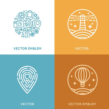 guia turistico: Vector conjunto de plantilla de diseño en estilo lineal moderno con iconos y emblemas - agencia de viajes emblema y conceptos de guía turístico