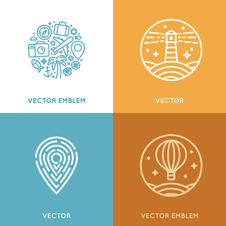tour guide: Vector set of design template in trendy linear style with icons and emblems - travel agency emblem and tour guide concepts Illustration