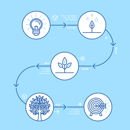 growing up: Vector infographics design elements and icons in linear style - business development and growth concepts - building start up from idea to corporation metaphor Illustration