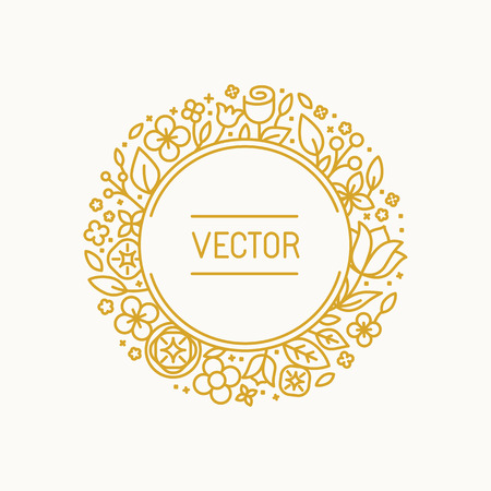 text frame: Vector vintage frame in trendy linear frame for florist shops and organic cosmetics - monogram design template with copy space for text with leaves and flowers and circle background
