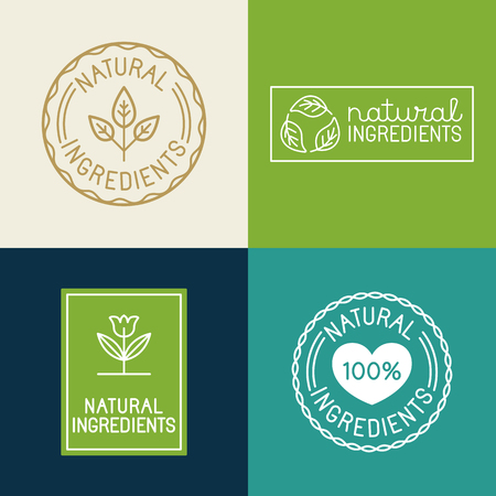 Vector set of design elements and badges for food and cosmetics packaging - natural ingredients - labels and emblems