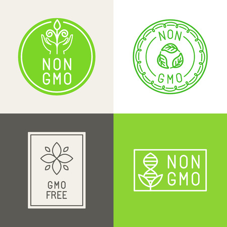non vegetarian: Vector set of design elements and badges for food and cosmetics packaging - non gmo and gmo free - natural ingridients labels and emblems