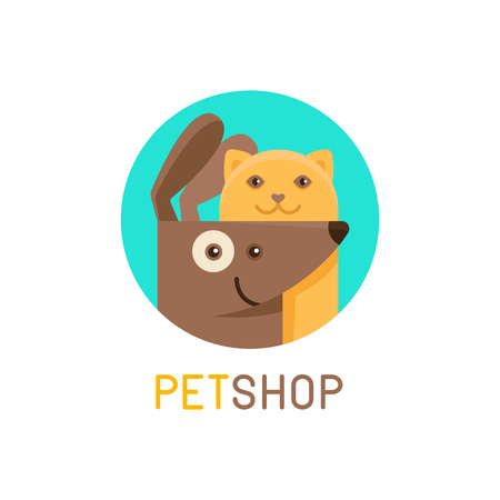 friendly: Vector design template for pet shops, veterinary clinics and homeless animals shelters - cat and  dog- friendly pets - badge for websites and prints