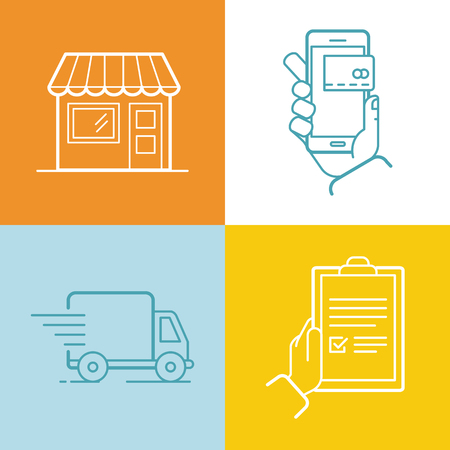 out of order: Vector set of linear flat icons and infographics design elements - internet shopping process - shop building with awning, online mobile payment, delivery truck and receiving order