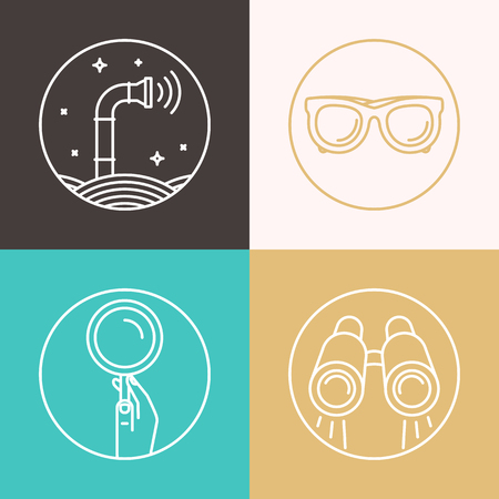 detect: Vector abstract illustration in flat style - periscope, binoculars, glasses, magnifier - surveillance and control concept - social network broadcasting