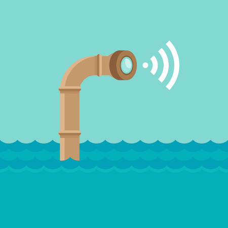 periscope: Vector abstract illustration in flat style - periscope in the sea water - surveillance and control concept - social network broadcasting