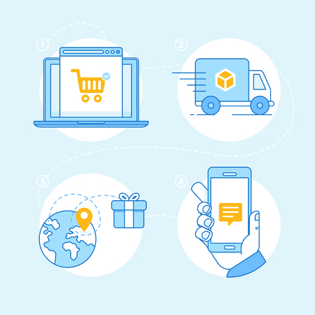 out of order: set of linear flat icons and infographics design elements - internet shopping process - online shop on the screen of the laptop, tracking order, delivery and notification on mobile phone