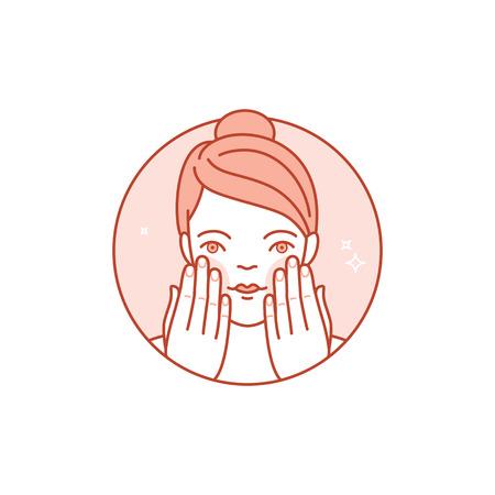 limpieza de cutis: icono, Ilustración e infografía elemento de diseño lineal - cuidado de la piel y la limpieza - la cara de la mujer con crema y lotion- belleza y cosméticos envases emblema