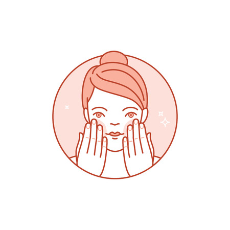 lineaire pictogram, illustratie en infographics design element - huidverzorging en reiniging - gezicht van de vrouw met room en lotion- schoonheid en cosmetica verpakkingen embleem Stock Illustratie