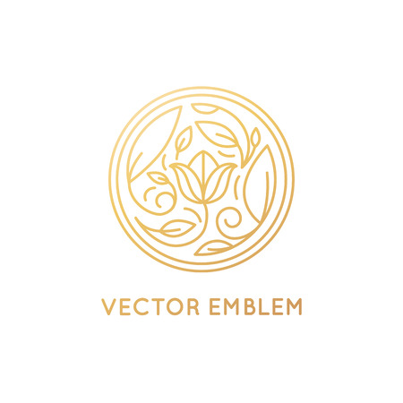 simple and elegant design template in trendy linear style - abstract emblem for floral shops or studios, wedding florists, creators of custom floral arrangements - circle with flowers and leaves